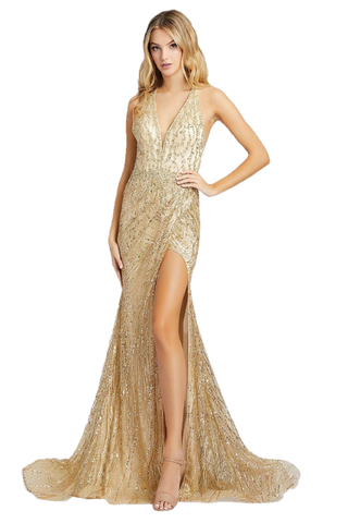 Mac Duggal 30621M - 30621 Long Fitted V Neckline Maxi Slit Formal Pageant Dress. Style 30621M is a sequin mermaid gown with v-neckline, open cross strapped back, leg slit, and court train. This gown is available in silver and light gold. This Mac Duggal Prom Collection 30621M silver prom dress has a fit and flare silhouette in crystal-beaded mesh, with plunging neckline and illusion cross back.
