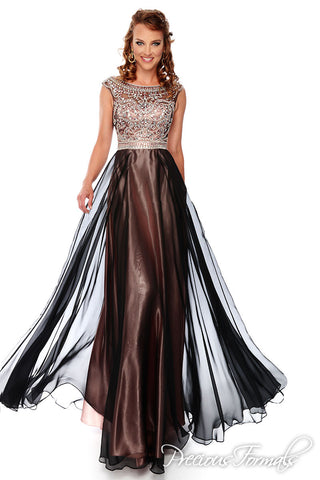 Precious Formals style P61018 size 12 Brown/Pink prom dress