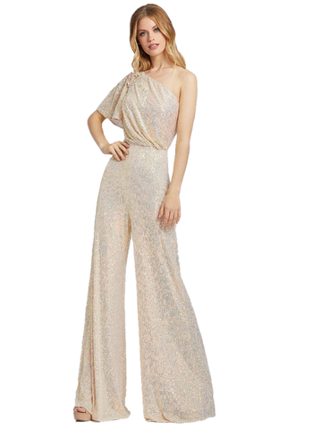 Mac Duggal Cassandra Stone 30692A is a champagne, fully-sequenced jumpsuit. This jumpsuit has an asymmetrical neckline with one flutter sleeve along with simple embroidered flower detail. Wide leg Formal Sequin jump suit.  Available Sizes: 0,2,4,6,8,10,12,14  Available Colors: Champagne