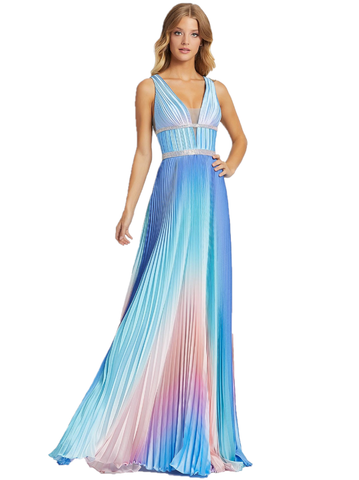 Mac Duggal Cassandra Stone 30705A Bring color to the world in style 30705A! This heart stopping A-line, pleated gown has accents of blue, purple, pink, and orange undertones. This blue ombre gown has a V-neckline along with a double-beaded embellished belt. Pleated A Line skirt with an Ombre Rainbow color shifting design. V neckline with sheer v sides.  Available Sizes: 0,2,4,6,8,10,12,14,16  Available Colors: Blue/Ombre