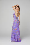 Primavera Couture 3073 Long beaded floral print prom dress evening gown