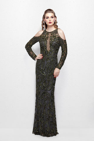 Primavera Couture 3081 Long Sleeve Beaded Formal Evening Dress Sheer Backless