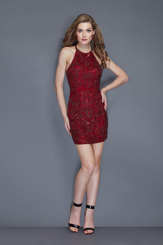 2bb32c3b5b Primavera Couture 3109 short fitted hand beaded homecoming dress –  GlassSlipperFormals