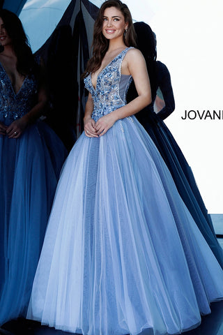 Jovani 3110 Long Blue Ball Gown 2020 Prom Dress Sheer Floral Applique V Neckline