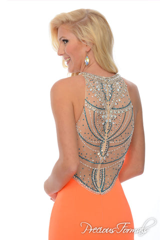 Precious Formals 70158 size 2 Neon Orange Long Mermaid Prom Dress Pageant Gown