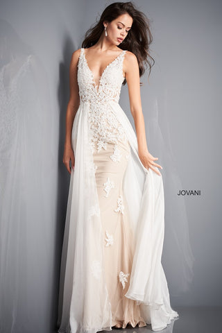 Jovani 3117  This is a beautiful long Wedding Dress with Applique Lace and flowy chiffon overskirt.  In Red makes an beautiful Prom, Pageant or Formal Evening Wear Gown.