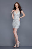 Primavera Couture 3138 plunging neckline beaded homecoming dress