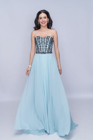 Nina Canacci 3140 Size 6,12 Long A Line Corset Prom Dress Strapless formal Gown