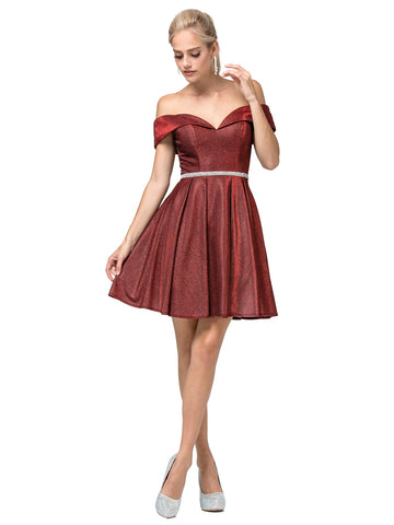 DQ 3147 is a short Shimmering Fit & Flare Short formal cocktail dress. Featuring a sweetheart neckline with full coverage off the shoulder straps. Crystal Rhinestone embellished waist belt. Pocket in flared skirt. Horse hair edged trim. great for homecoming & almost any formal event!