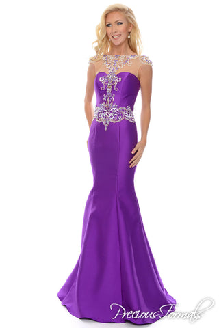 Precious Formals P 70204 is a long elegant mermaid dress with illusion hand beaded top and beaded waist details with cap sleeves and open back.   fabric:  Mikado  colors:  Purple  size: 2