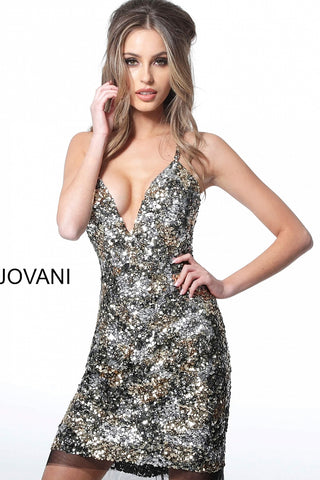 Jovani 3151 short fitted sequin cocktail dress