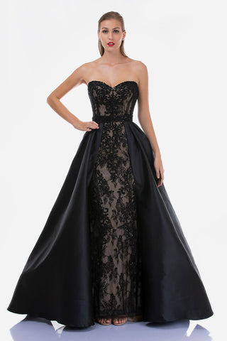 Nina Canacci 3157 Black Lace Strapless Mermaid Formal Dress with Over Skirt Pageant