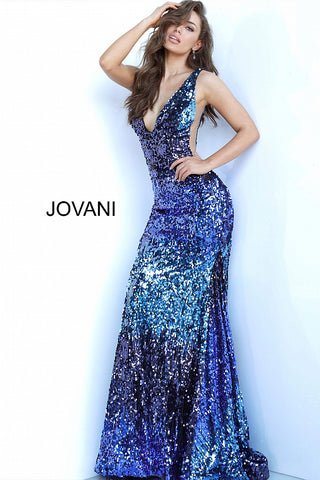Jovani 3192 Blue Multi Sequin Embellished V Neck Mermaid Gown 2020 Shimmer