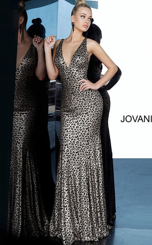 Jovani 3237 is a long fitted Metallic shimmer animal print prom dress, pageant gown & Formal evening wear. Featuring a deep plunging neckline with a fit & flare silhouette. Open back with sweeping train cascading from the skirt.  Available Colors: Animal Print  Available Sizes: 00-24