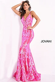 Jovani 3263 sz 4 Hot Pink Mermaid Sequin Prom Dress Pageant Gown V Back