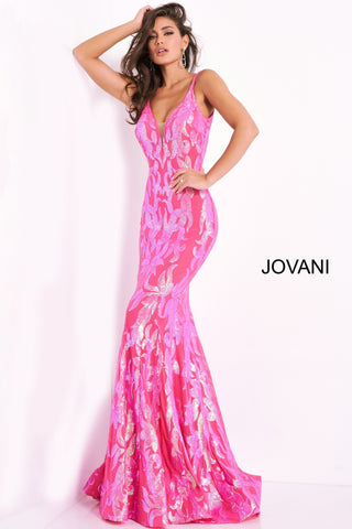 Jovani 3263 is a long Fitted Mermaid Prom Dress with a damask print sequin embellished pattern. Plunging V Neckline and open V Back. Lush Trumpet Skirt is great for the stage in this formal evening gown & Pageant Dress. Glass Slipper Formals