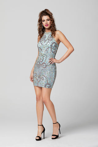 Primavera Couture 3303 short high neckline beaded homecoming dress