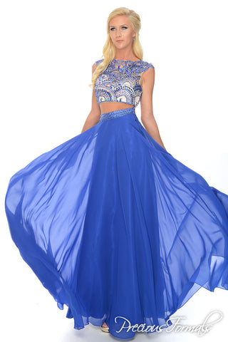 Precious Formals style P38032 size 4 Royal Blue prom dress gown