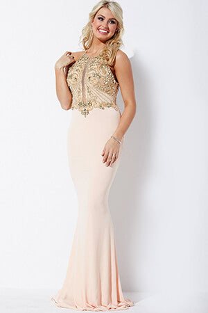 Jovani 33473 Blush Gold fitted stretch jersey long prom dress evening gown with illusion beaded bodice. Size 00 blush/gold ready for immediate delivery.