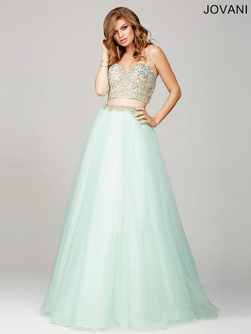 Jovani 33492 Size 4 Two Piece Prom Dress Mint Ballgown Pageant Gown