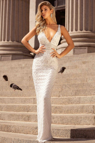 Primavera Couture 3425 Embellished V Neck Prom Dress Evening Gown 2020 Beaded