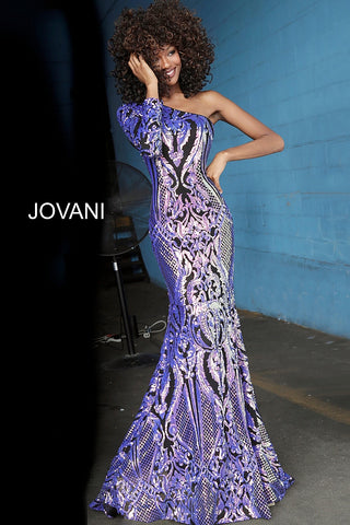 Jovani 3477 Sequin Embellished Prom Dress One Shoulder Sleeve Mermaid Shimmer 2020