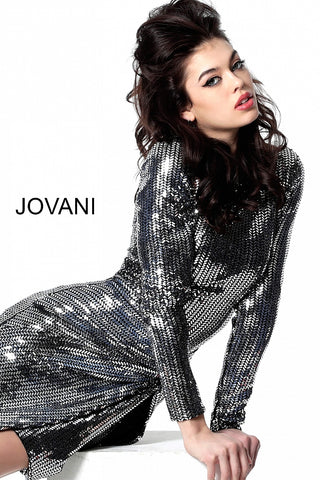 Jovani 3478 long sleeve short fitted cocktail dress