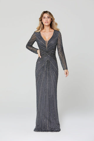 Primavera Couture Evening 3487 long sleeve beaded fitted evening gown with plunging v neckline with sheer modesty panel and full coverage modest back.