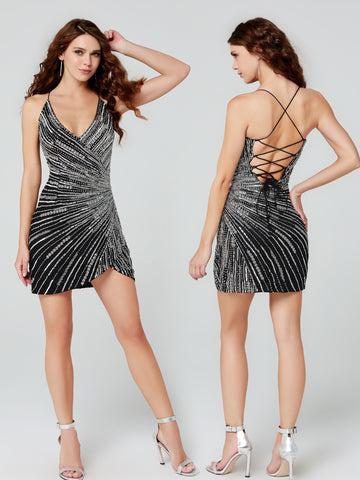 Primavera Couture 3506 V neckline short cocktail dress sequin wrap style homecoming dress with criss cross tie open back.