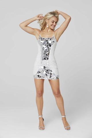 Primavera Couture 3512 Size 00 Short Sequin Cut Glass Fitted Cocktail Dress Backless Corset
