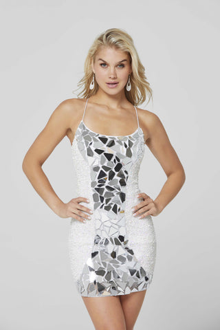 Primavera Couture 3512 Size 00,4 Short Sequin Cut Glass Fitted Cocktail Dress Backless Corset