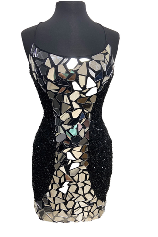 Primavera Couture 3512 Size 2,4 Short Sequin Cut Glass Fitted Cocktail Dress Backless Corset
