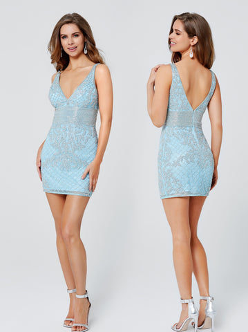Primavera Couture 3514 V neckline wide straps high V back embellished waist short sequin cocktail dress homecoming dress reception dress