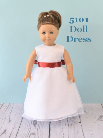 Rosebuds Fashions 5101 Doll Dress Matching Doll Flower Girl Dress Your Flower Girl can have a matching doll dress that matches her flower girl dress!  One size, fits American Girl Dolls or similar dolls in the same size.