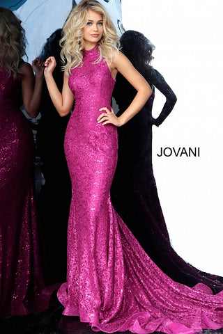 Jovani 3559 Sequin Embellished Lace Prom Dress High Neck Mermaid Gown 2020 Long