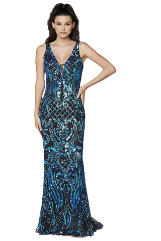 Primavera Couture 3612 is a long Fitted Sequin Embellished Formal Evening Gown. Featuring a Plunging Deep V Neckline. Elegant Sequin Embellishments scroll down throughout the length of this fit & Flare Prom Dress.  Available Sizes: 00,0,2,4,6,8,10,12,14,16,18  Available Colors: Black/Blue, Black/Multi, Ivory, Yellow
