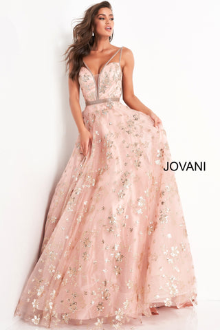 Jovani 3614 is a 2021 Prom Dress, Pageant Gown & Formal Evening Wear gown. This Dress features a plunging neckline with crossing spaghetti straps leading to an open corset lace up tie back closure. Glitter Shimmer embellished ballgown with an embellished waist belt.   Available Sizes: 00, 0, 2, 4, 6, 8, 10, 12, 14, 16, 18, 20, 22, 24  Available Colors: Blush, Blue/Gre
