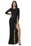 Primavera Couture 3614 is a long fitted fully Embellished formal evening gown. Featuring a high neckline and long sheer sleeves. This gown is accented with cut glass pieces around the neckline, end of sleeves & Around the slit on this stunning Prom & Pageant Gown. Sweeping train. Available Sizes: 00,0,2,4,6,8,10,12,14,16,18,20,22,24  Available Colors: Black/Gold, Black/Multi, Ivory, Raspberry