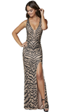 Primavera Couture 3634 is a long fitted fully Embellished & Beaded formal evening gown. This Gown Features a zebra animal print design comprised of beading along the length of this gown. Plunging Deep V Neckline with an open back and crossing embellished straps. Slit in skirt with a sweeping train. Available Sizes: 00,0,2,4,6,8,10,12,14,16,18  Available Colors: Beige, Peacock, Red/Fuchsia