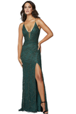 Primavera couture 3636 is a long fitted formal evening gown. This Prom Dress Features a deep V Plunging neckline with mesh insert and spaghetti straps leading around to an open back with a corset lace up tie closure. This Backless Pageant gown Features Beaded Embellishments cascading down the length of the dress. The skirt has a slit & Sweeping train. Available Sizes: 00,0,2,4,6,8,10,12,14,16,18  Available Colors: Black, Blue, Forrest Green, Ivory, Powder Blue