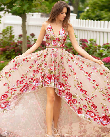 Primavera Couture 3639 High Low Formal V Neck Sequin Floral Prom Dress