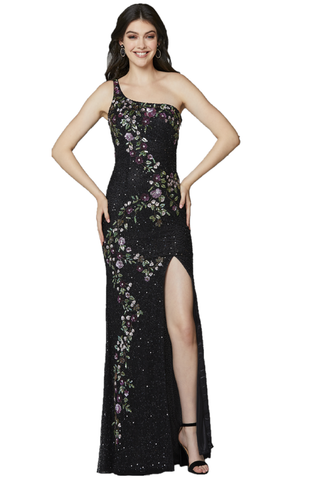 Primavera Couture 3641 is a long Fitted formal evening gown. Featuring a one shoulder neckline with an open back and double accent beaded straps. Floral Designs Cascade down the length of this stunning Prom Dress. Beaded Sequin Embellished with a slit in the skirt. Available Sizes: 00,0,2,4,6,8,10,12,14,16,18  Available Colors: Black/Multi, Blush/Multi, Midnight