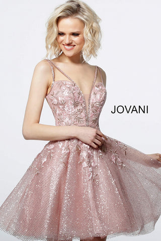 Jovani 3654  Blush Plunging Neck Fit and Flare Cocktail Dress Prom Floral Lace 2020