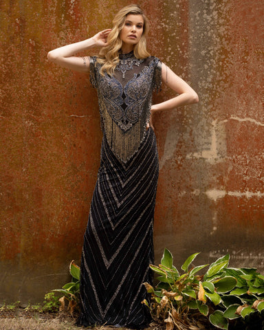 Primavera Couture 3679 high neckline fringe cap sleeve evening gown beaded dress