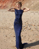 Primavera Couture 3682 cap sleeve beaded long evening gown bateau neckline