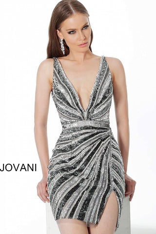 Jovani 3685 Gunmetal Short Cocktail Dress Homecoming deep V neckline Sizes 00-24