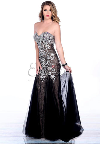 Envious Couture 3696 Black Nude Size 0 Prom Dress Mermaid Pageant Gown