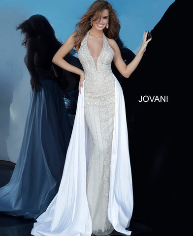 Jovani Couture 3698 Long Crystal Beaded Pageant Dress Wedding Gown Overskirt Plunging Neckline Glass Slipper Formals Over Skirt