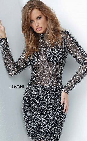 "Jovani 3729 Fully beaded cocktail dress, form fitting silhouette, long sleeve bodice, high neckline, close back.  Fabric: 100% Polyester. Fit: The Model is 5'9"" Wearing 3"" Heels.  Neckline:  High Waistline: Natural Jovani 3729 Available Colors: Black/Silver"