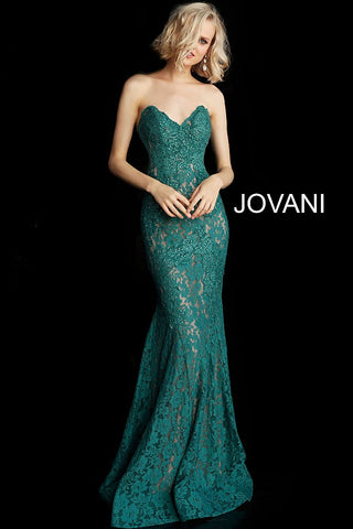 Jovani 37334 strapless sweetheart lace prom dress